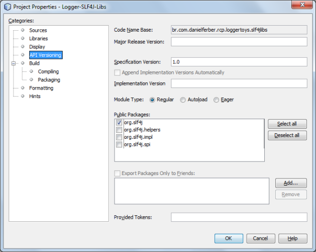 Netbeans RCP module exporting SLF4J public packages