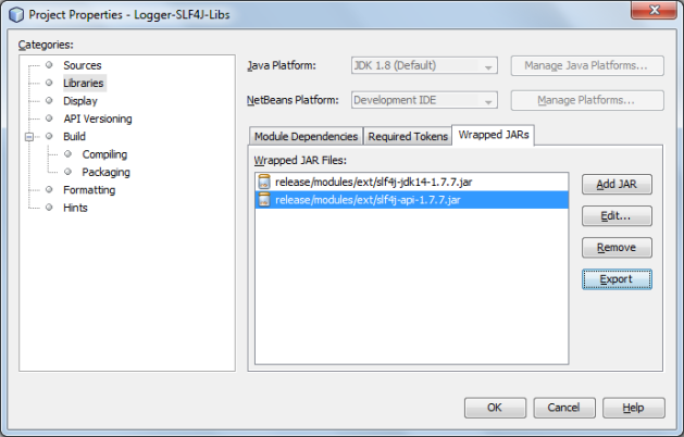 Netbeans RCP module wrapping SLF4J libraries